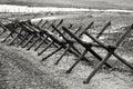 Anti tank hedgehogs in retro style wwii Stock Photos