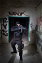 Anti terrorist unit policeman during the night mission special forces or contractor cqb operation color toned image very harsh Stock Image