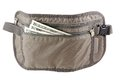Anti theft travel pouch waist bag to put money ticket and passport isolated on white Royalty Free Stock Photos