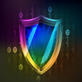 Anti virus protecting in binary internet space vector illustration Royalty Free Stock Image