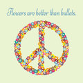 Anti-war propaganda. Silhouette pacifism sign painted colorful flowers. Text Flowers are better than bullets. Abstract. Royalty Free Stock Photo