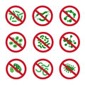 Antibacterial icons with germ. Bacteria kill vector symbol. Control infection signs Royalty Free Stock Photo