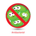Antibacterial sign with a funny cartoon bacteria Royalty Free Stock Photo