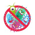 Antibacterial symbol. Virus infection and microbes bacterias control, humor cartoon protection sign stop vector icon