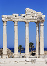 Antic city of side ruins the apollo temple Stock Photos