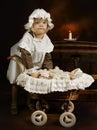 Antieke meisje en pop Royalty-vrije Stock Foto