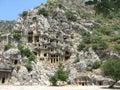 Antient tombs in kekova turkey Royalty Free Stock Photos