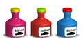 Antifreeze bottles three on a white background Royalty Free Stock Photos