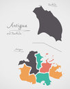 Antigua and Barbuda Map with states and modern round shapes