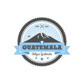 Antigua Guatemala badge with volcano Agua. Patch
