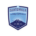 Antigua Guatemala badge with volcano Agua. Patch