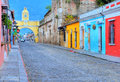 Antigua guatemala july street view of on july the historic city is unesco world heritage site since Royalty Free Stock Photos