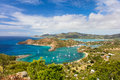 Antigua landscape view of english harbor in from shirley heights Stock Image
