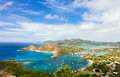 Antigua landscape view of english harbor in from shirley heights Stock Photography