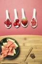 Antioxidant fruits raspberries cherrys strawberries and watermelon Stock Photos