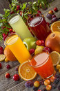 Antioxidant juices of citrus apple plum and blackberry Stock Image