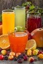 Antioxidant juices of citrus apple plum and blackberry Stock Photos