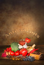 Antioxidants fruits vegetables wooden table text Royalty Free Stock Images