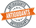 antioxidants round orange stamp Royalty Free Stock Photo