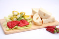 Antipasti fresh with cheese and bread Royalty Free Stock Photos