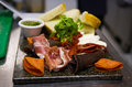 Antipasti with parma ham salami mozzarella and bread Royalty Free Stock Images