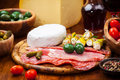 Antipasto catering platter with cheese loaf salami and Stock Photography