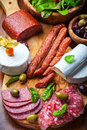 Antipasto catering platter with meat and cheese products Royalty Free Stock Photo