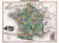 Antique 1870 Map of France Royalty Free Stock Photo