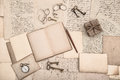 Antique accessories, open book and old handwritten letters Royalty Free Stock Photo