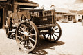 Antique american cart in old western city Stock Image