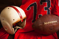 Antique American Football Equipment Stock Photo