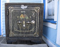 Antique american safe an wild west metal at an old railroad depot in colorado usa Stock Photos