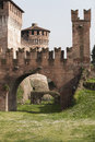 Antique ancient walls of castle an Stock Images