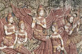 Antique angle stone relief five thai Royalty Free Stock Images