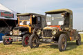 Antique automobiles westernhanger uk july two authentic ww ex british army military staff cars stand on static display at the war Stock Photo