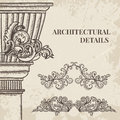 Antique and baroque cartouche ornaments and classic style column vector set. Vintage architectural details design elements