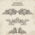 Antique and baroque cartouche ornaments vector set. Vintage architectural details design elements Royalty Free Stock Photo
