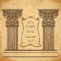 Antique and baroque classic style column and ribbon banner vector set. Vintage architectural details design elements Royalty Free Stock Photo