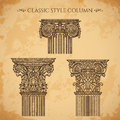 Antique and baroque classic style column vector set. Vintage architectural details design elements on grunge background Royalty Free Stock Photo