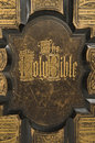 Antique bible cover text closeup of the on an Royalty Free Stock Photos
