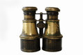 Antique binoculars of brass. Royalty Free Stock Photo