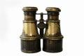 Antique binoculars of brass. Royalty Free Stock Photo