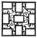 Antique black photo frame with elements of floral forged ornament. Set 9 nine frames. isolated on white background