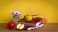 Antique book with flower and fruit on table yellow background Stock Images
