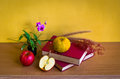Antique book with flower and fruit on table yellow background Royalty Free Stock Image