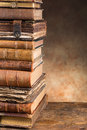 Antique books with copy space stacked very old leaving Stock Photos