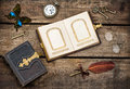 Antique books, writing accessories and butterfly