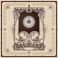 Antique border decorative style with floral ornament Royalty Free Stock Image