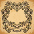 Antique border frame engraving with retro ornament pattern. Vintage design decorative element in baroque style on aged paper. Royalty Free Stock Photo