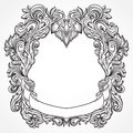 Antique border frame engraving with retro ornament pattern. Vintage design decorative element in baroque style. Royalty Free Stock Photo